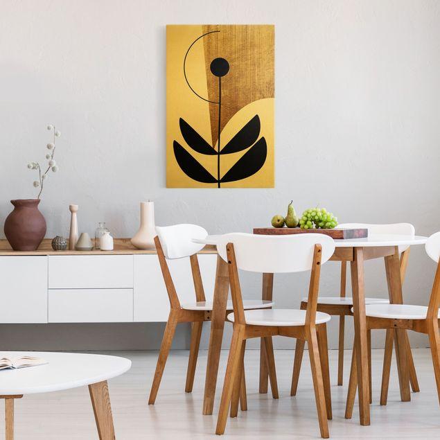 Leinwandbild Gold - Abstrakte Formen - Blume Gold - Hochformat 2:3