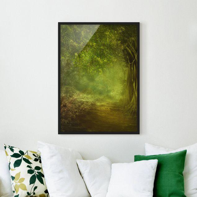 Bild mit Rahmen - Waldspaziergang - Hochformat 3:4