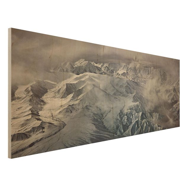 Holzbild - Berge von Tibet - Panorama