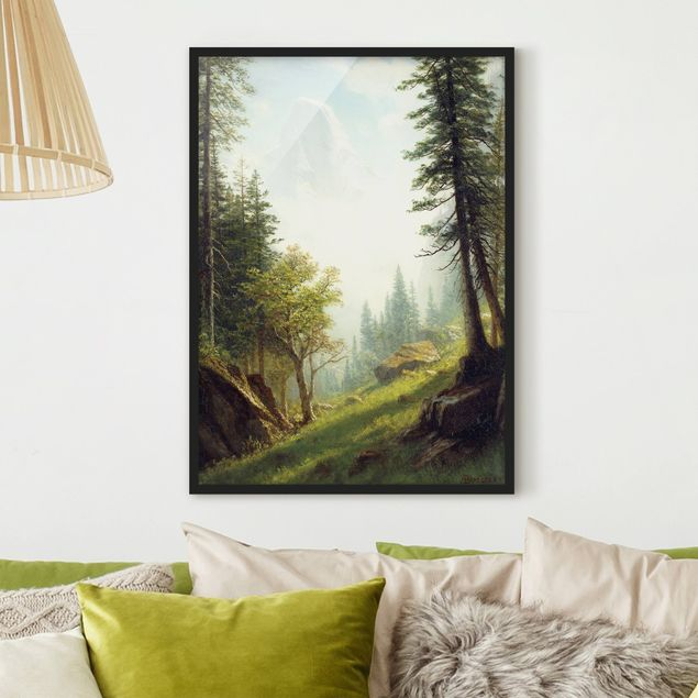 Bild mit Rahmen - Albert Bierstadt - In den Berner Alpen - Hochformat 3:4