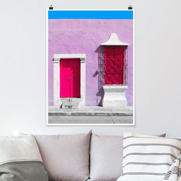 Poster - Rosa Fassade Pinke Tür - Hochformat 3:4