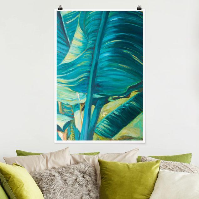 Poster - Bananenblatt mit Türkis I - Hochformat 3:2