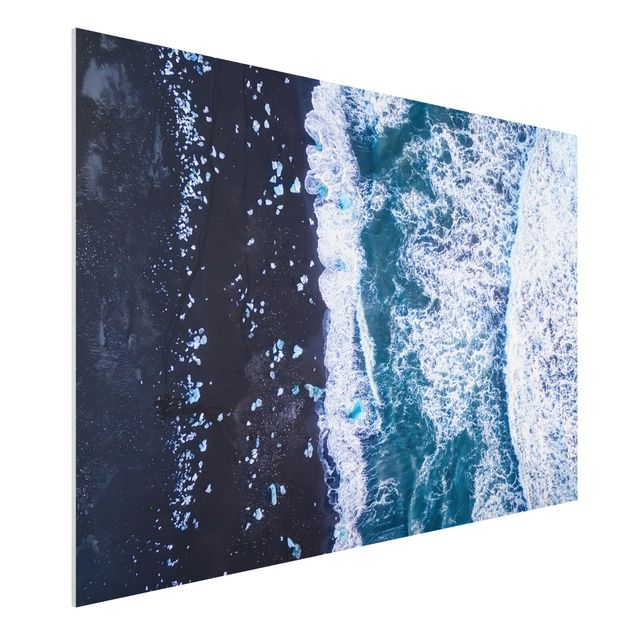 Forex Fine Art Print - Luftbild - Jökulsárlón in Island vertikal - Querformat 2:3