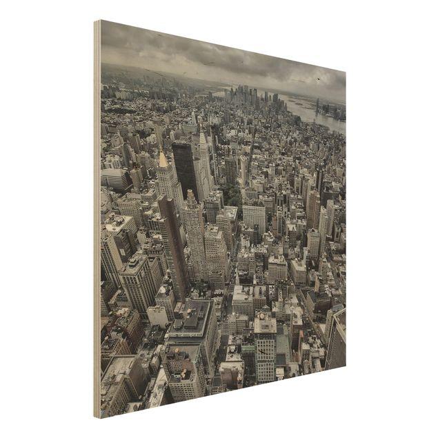 Holzbild - Blick über Manhattan - Quadrat 1:1