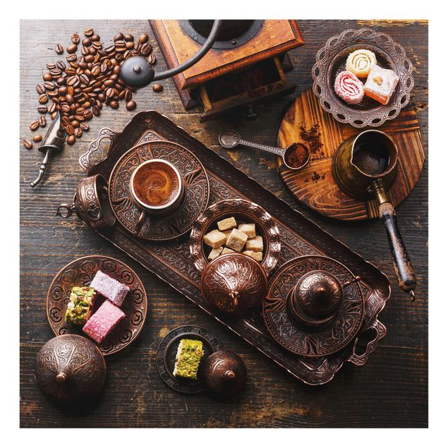 Glas Spritzschutz - Türkischer Kaffee - Quadrat - 1:1