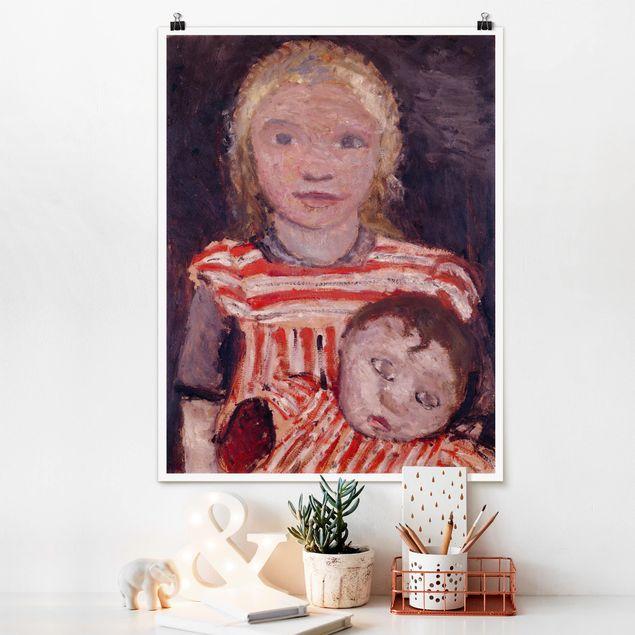 Poster - Paula Modersohn-Becker - Mädchen mit Puppe - Hochformat 3:4