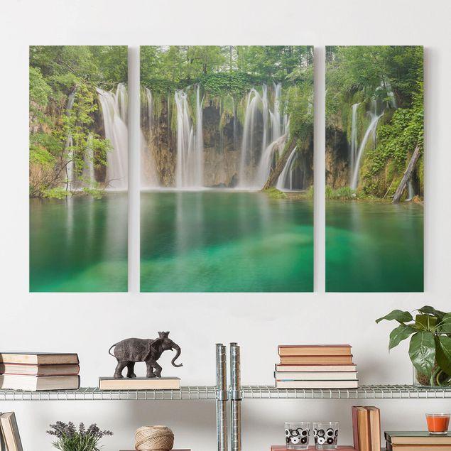 Leinwandbild 3-teilig - Wasserfall Plitvicer Seen - Triptychon