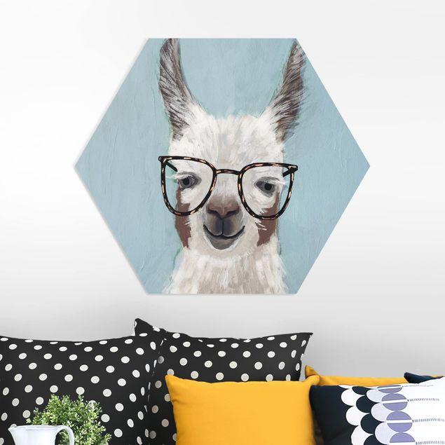 Hexagon Bild Forex - Lama mit Brille II