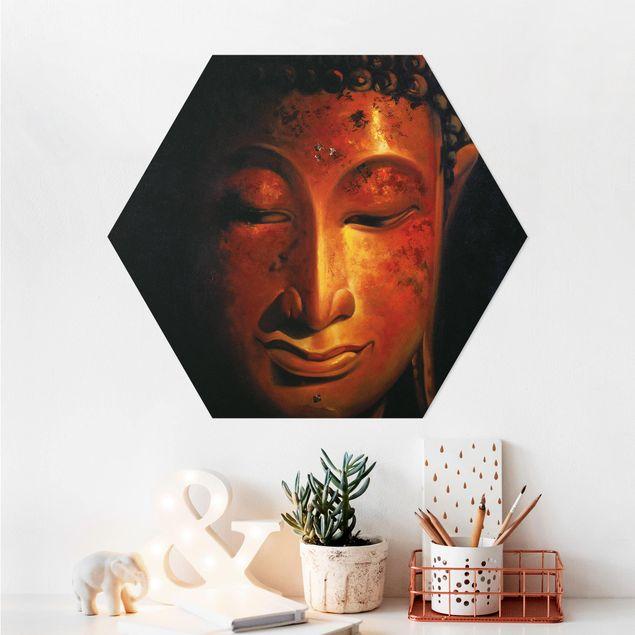 Hexagon Bild Alu-Dibond - Madras Buddha