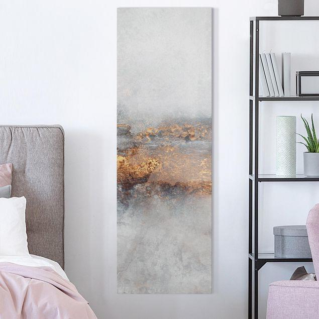 Leinwandbild - Elisabeth Fredriksson - Gold-Grauer Nebel - Panorama Hochformat 1:3