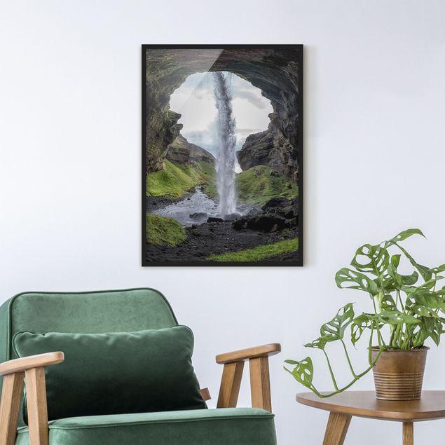 Bild mit Rahmen - Verborgener Wasserfall - Hochformat 3:4
