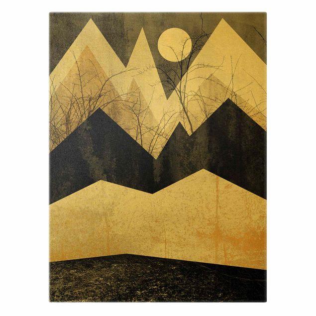 Leinwandbild Gold - Goldene Berge Äste - Hochformat 3:4
