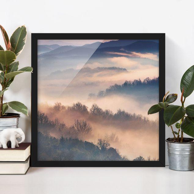 Bild mit Rahmen - Nebel bei Sonnenuntergang - Hochformat 3:4