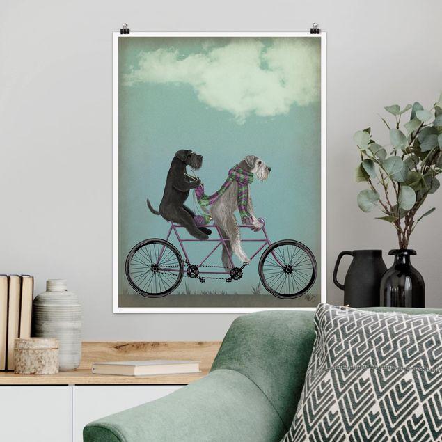 Poster - Radtour - Schnauzer Tandem - Hochformat 3:4