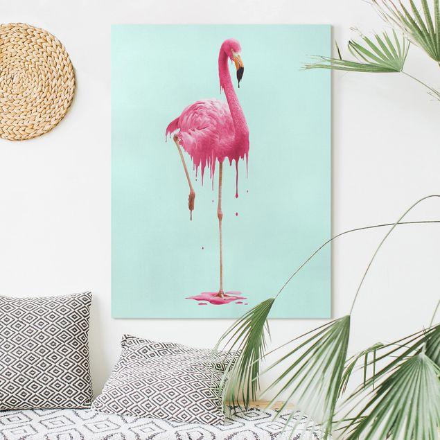 Leinwandbild - Jonas Loose - Schmelzender Flamingo - Hochformat 4:3