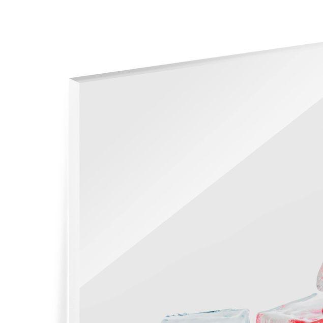 Glas Spritzschutz - Früchte im Eiswürfel - Quadrat - 1:1