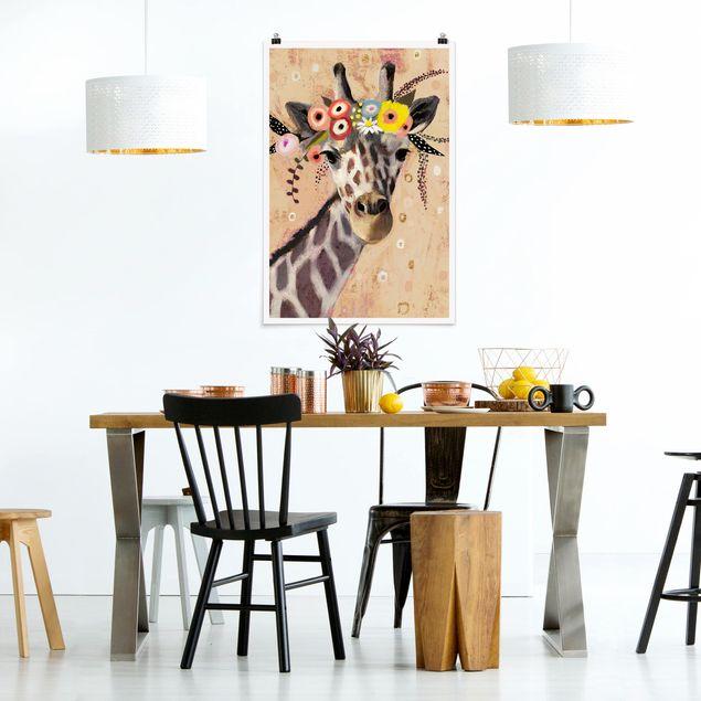 Poster - Klimt Giraffe - Hochformat 3:2