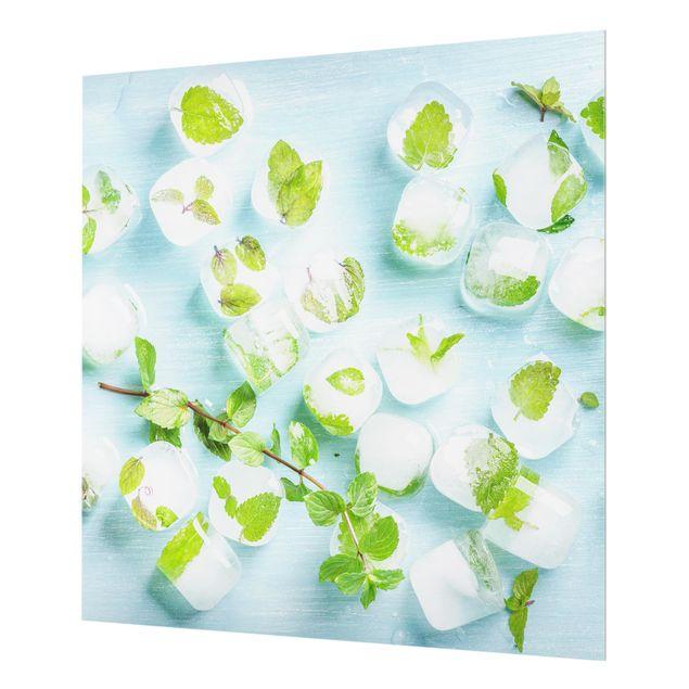 Glas Spritzschutz - Eiswürfel mit Minzblättern - Quadrat - 1:1