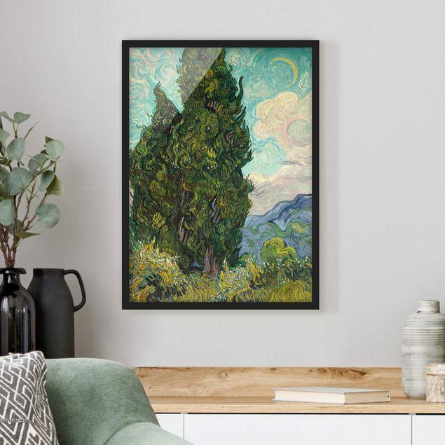 Bild mit Rahmen - Vincent van Gogh - Zypressen - Hochformat 3:4
