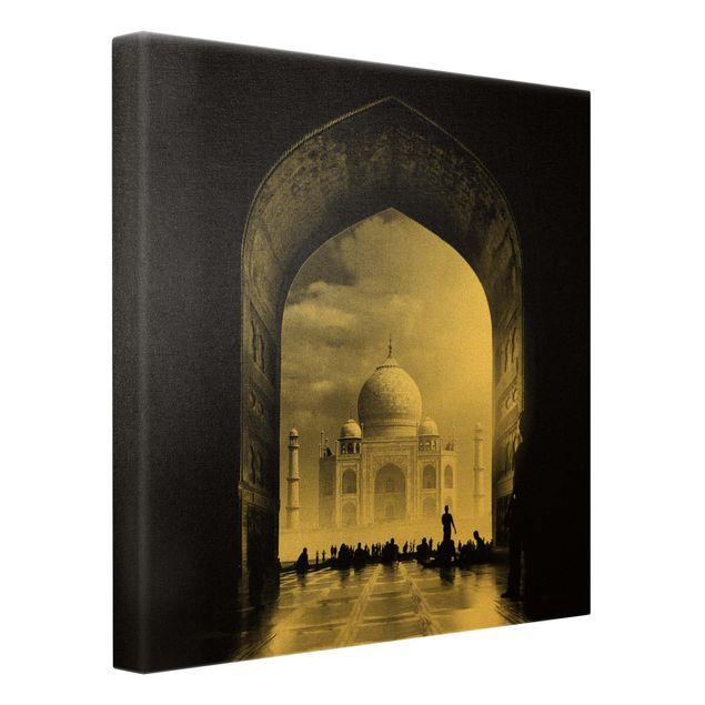 Leinwandbild Gold - Das Tor zum Taj Mahal - Quadrat 1:1