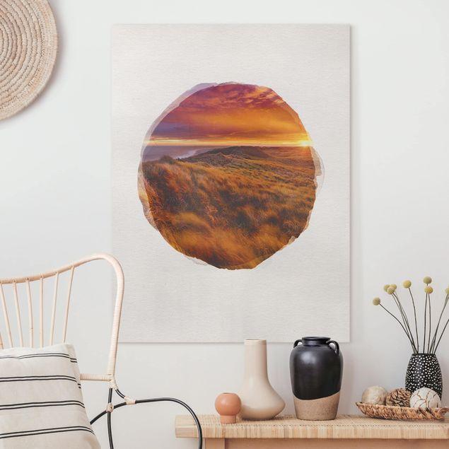 Leinwandbild - Wasserfarben - Sonnenaufgang am Strand auf Sylt - Hochformat 4:3