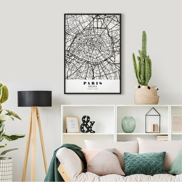 Bild mit Rahmen - Stadtplan Paris - Klassik - Hochformat 3:4