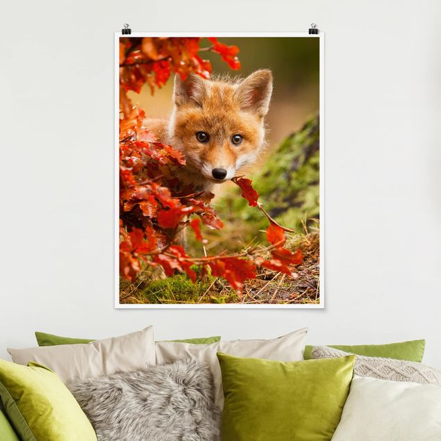 Poster - Fuchs im Herbst - Hochformat 3:4