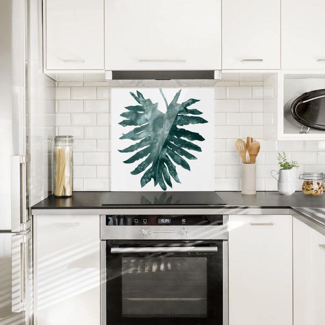 Glas Spritzschutz - Smaragdgrüner Philodendron Bipinnatifidum - Quadrat - 1:1