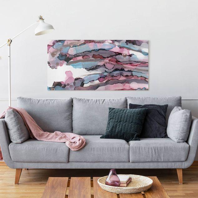 Leinwandbild - Wellenreiten in Violett mit Roségold - Querformat 2:1