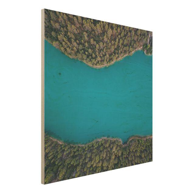 Holzbild - Luftbild - Tiefblauer See - Quadrat 1:1
