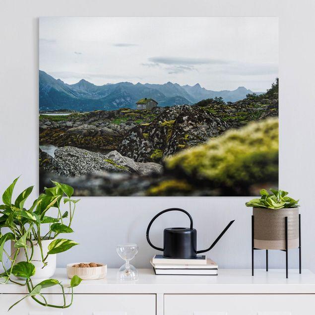Leinwandbild - Einsame Hütte in Norwegen - Querformat 4:3