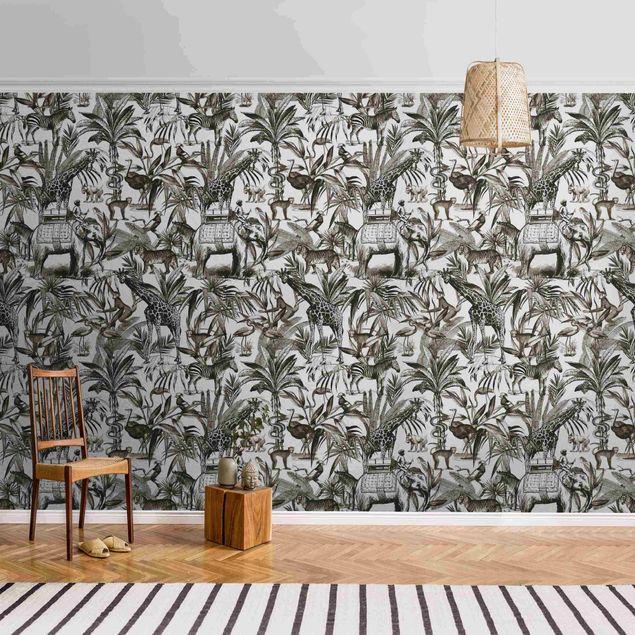 Metallic Tapete - Elefanten Giraffen Zebras und Tiger Schwarz-Weiß mit Braunton