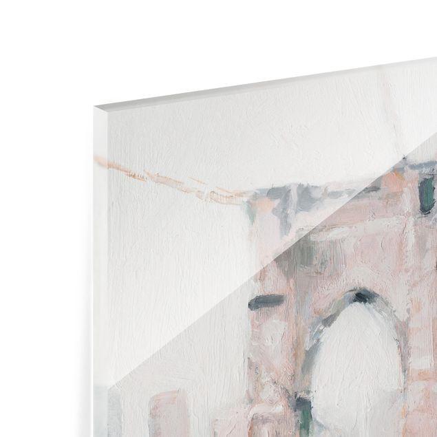 Glas Spritzschutz - Spaziergang am Morgen I - Quadrat - 1:1