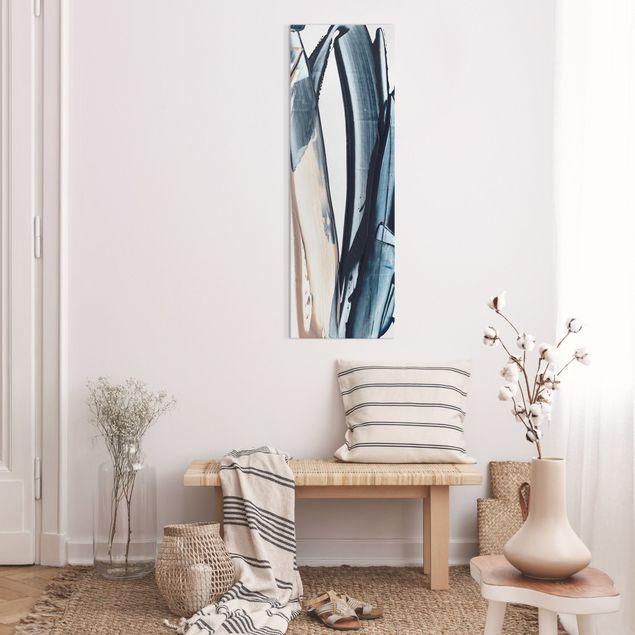 Leinwandbild - Blau und Beige Streifen - Panorama Hochformat 1:3