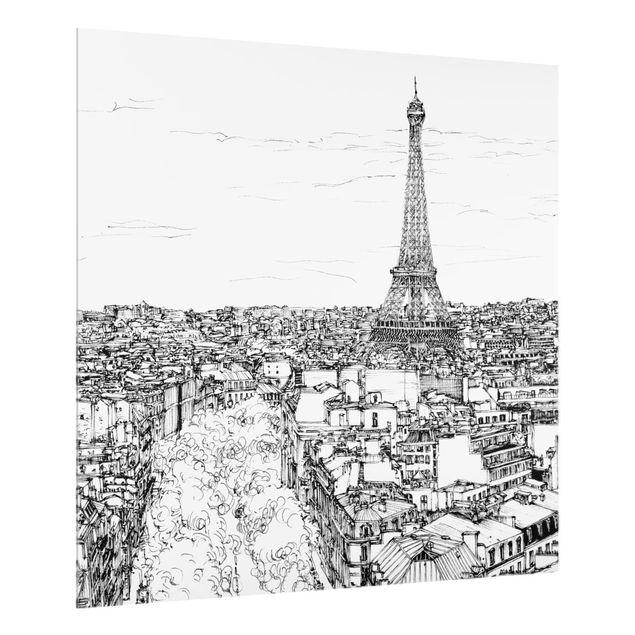 Glas Spritzschutz - Stadtstudie - Paris - Quadrat - 1:1