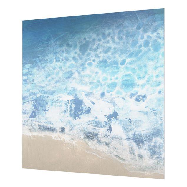 Glas Spritzschutz - Ebbe und Flut in Farbe II - Quadrat - 1:1