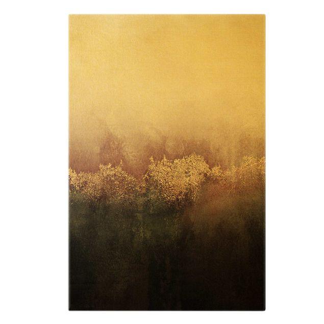 Leinwandbild Gold - Goldene Dämmerung Rosa - Hochformat 2:3