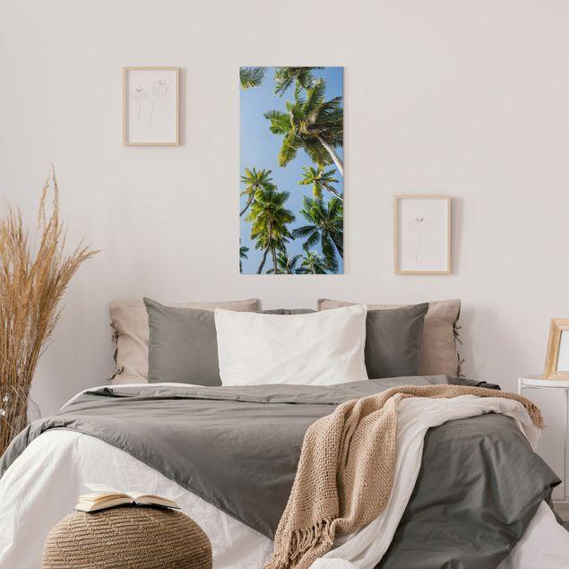 Leinwandbild - Palmen Himmel - Hochformat 1:2