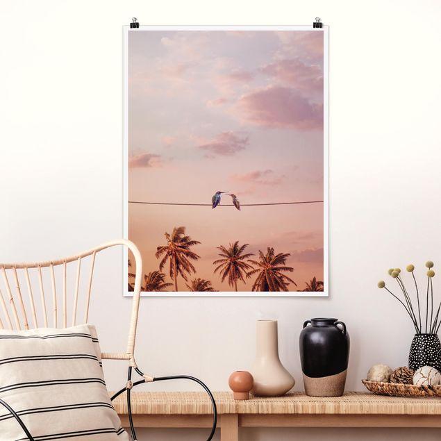 Poster - Jonas Loose - Sonnenuntergang mit Kolibris - Hochformat 3:4