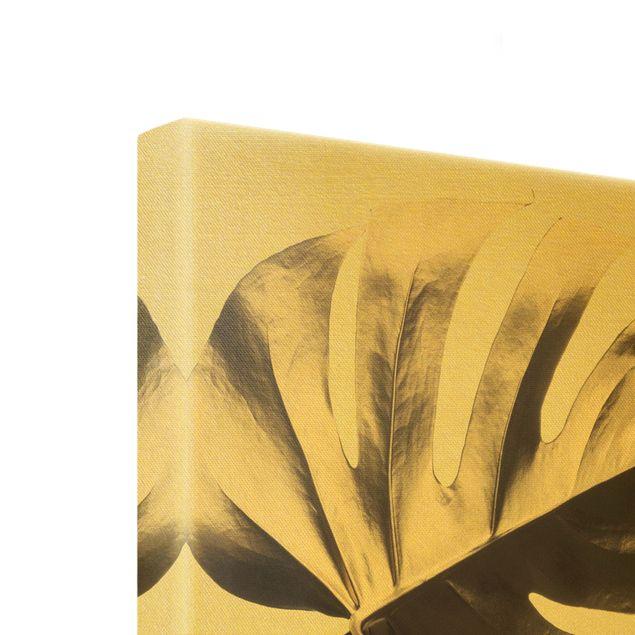 Leinwandbild Gold - Goldene Monsterablätter - Hochformat 1:2