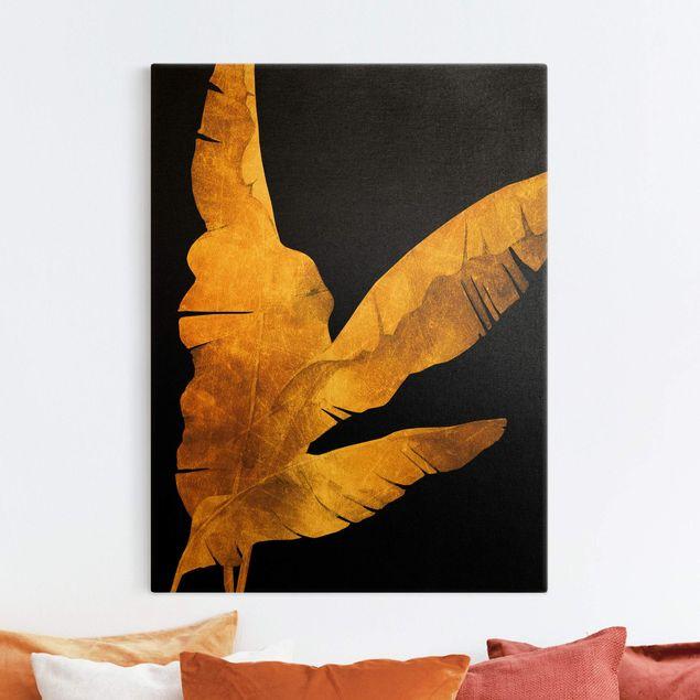 Leinwandbild Gold - Gold - Bananenpalme auf Schwarz - Hochformat 3:4