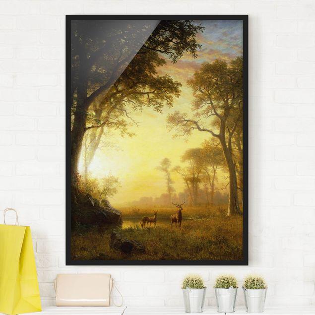 Bild mit Rahmen - Albert Bierstadt - Sonnenbeschienene Lichtung - Hochformat 3:4