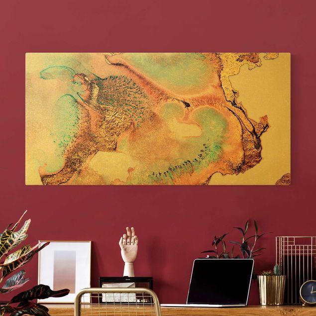 Leinwandbild Gold - Goldenes Aquarell Rosé - Querformat 2:1