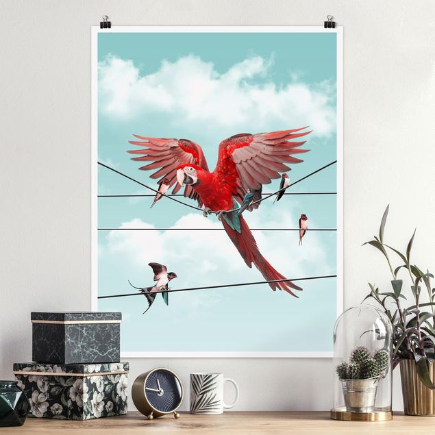 Poster - Jonas Loose - Himmel mit Vögeln - Hochformat 3:4