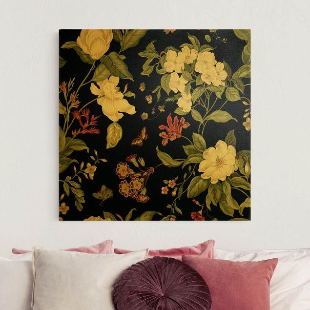 Leinwandbild Gold - Gartenblumen auf Schwarz II - Quadrat 1:1