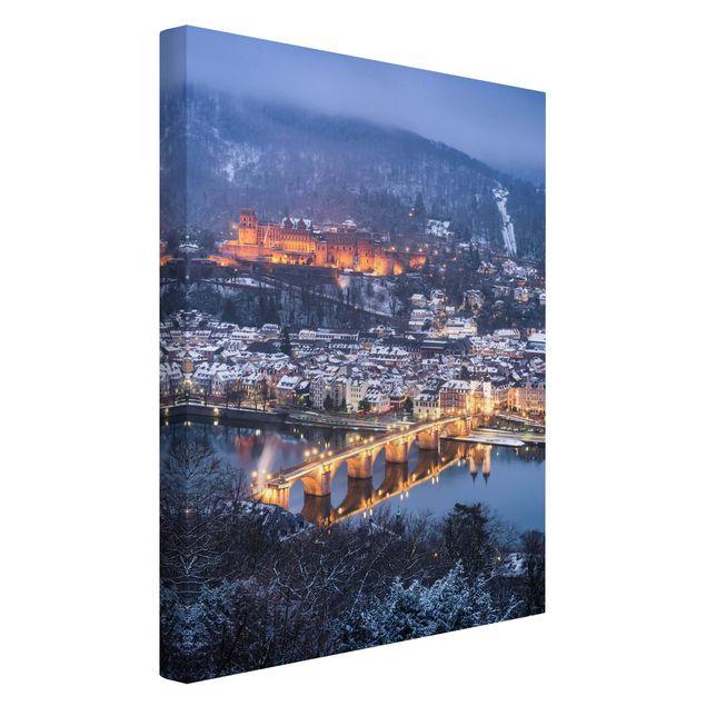 Leinwandbild - Winterliches Heidelberg - Hochformat 2:3