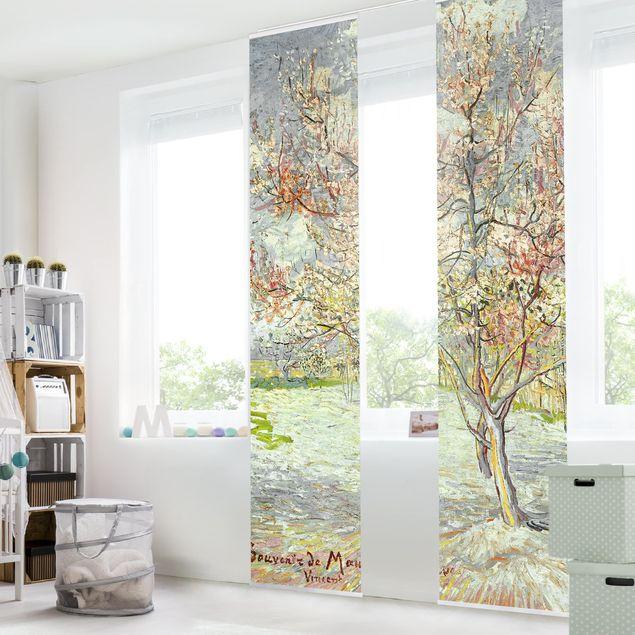 Schiebegardinen Set - Vincent van Gogh - Blühende Pfirsichbäume - 2 Flächenvorhänge