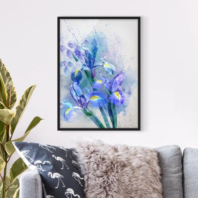 Bild mit Rahmen - Aquarell Blumen Iris - Hochformat 3:4