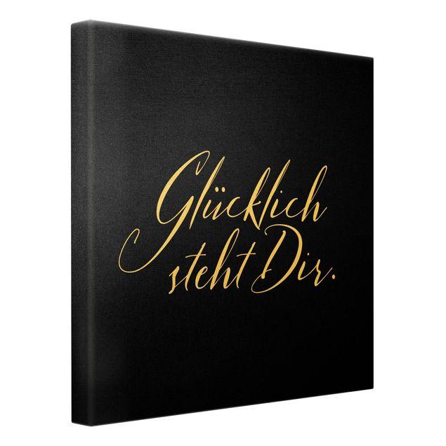Leinwandbild Gold - Glücklich steht Dir Schwarz - Quadrat 1:1