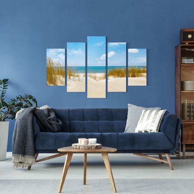 Leinwandbild 5-teilig - Strand an der Nordsee